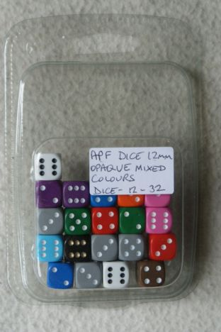 APF Dice-12-32 12mm D6 Opaque Mixed Colours